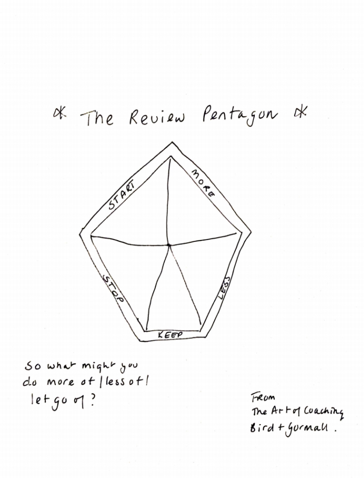 The Review Pentagon drawing